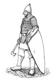 Russian warrior Vector Sketch Royalty Free Stock Photos