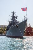 Russian warship in the Bay, Sevastopol, Crimea Royalty Free Stock Photo