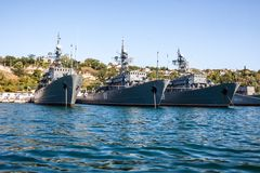 Russian warship in the Bay, Sevastopol, Crimea Stock Photography