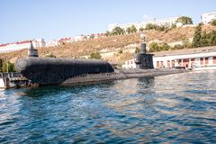 Russian warship in the Bay, Sevastopol, Crimea Royalty Free Stock Images