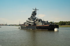 Russian warship of Kaspian flotilla. Russian warship of Kaspian flotilla in Astrakhan Stock Images