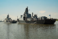 Russian warship of Kaspian flotilla Stock Photos