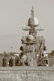 Russian warship in Kronstadt . Black and white photo Stock Photo