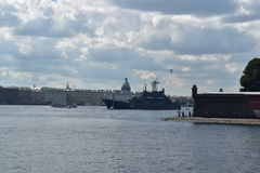 Russian warship preparing for the parade stock photography