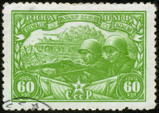 Russian wartime stamp, macro Royalty Free Stock Image