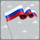 Russian wavy flag. Vector illustration. Russian flag wavy abstract background. Vector illustration Stock Photo