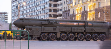 Russian weapons. Rehearsal of military parade (at night) near the Kremlin, Moscow, Russia. (on May 04, 2015).Celebration of the 70th anniversary of the Victory Royalty Free Stock Photos