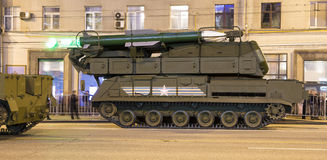 Russian weapons. Rehearsal of military parade (at night) near the Kremlin, Moscow, Russia Royalty Free Stock Image