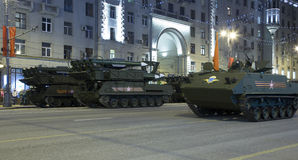 Russian weapons. Rehearsal of military parade (at night) near the Kremlin, Moscow, Russia Stock Photography