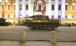 Russian weapons. Rehearsal of military parade (at night) near the Kremlin, Moscow, Russia Stock Photo