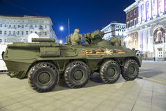 Russian weapons. Rehearsal of military parade (at night) near the Kremlin, Moscow, Russia Royalty Free Stock Photo