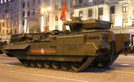 Russian weapons. Rehearsal of military parade (at night) near the Kremlin, Moscow, Russia Stock Images