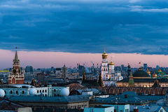 Russian Weather, Moscow, April 2017. View of the historical center of Moscow, Spassky Savior`s tower of the Kremlin, Ivan the Great bell tower. Some unusual Stock Photos