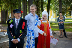 Russian wedding traditions. First Russian wedding tradition is symbolic purchase of the bride. The groom and his relatives came to the house of the bride and Royalty Free Stock Photos