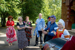 Russian wedding traditions. First Russian wedding tradition is symbolic purchase of the bride. The groom and his relatives came to the house of the bride and Royalty Free Stock Photo