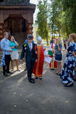 Russian wedding traditions. First Russian wedding tradition is symbolic purchase of the bride. The groom and his relatives came to the house of the bride and Royalty Free Stock Images