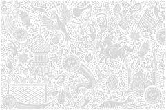 Russia World Cup White Pattern. Russian white background world. Russia pattern with modern and traditional elements. 2018 trend vector illustration Stock Photo