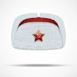 Russian white winter fur hat ushanka with red star Stock Image