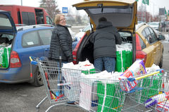 Russian wholesalers purchased. Russian wholesalers bought in Finland, loading of goods in the car Stock Image