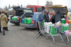 Russian wholesalers purchased. Russian wholesalers bought in Finland, loading of goods in the car Stock Images
