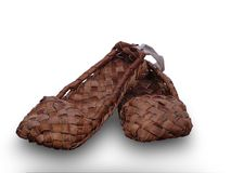 Russian wicker bast shoes Stock Photo
