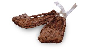 Russian wicker bast shoes Stock Photography