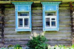 Russian window carved platband Stock Photos