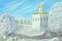 Russian winter. Oil painting hand drawn with russian snowy winter day(church in forest Stock Photo