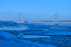 Russian winter bridge Stock Photography