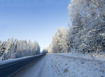 Russian winter forest road in snow Stock Photo