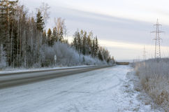 Russian winter highway Stock Photo