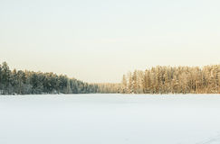 Russian winter lake in snow and ice Stock Photo