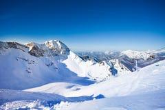 Russian winter landscape of Caucasus mountains. During daytime in Sochi ski resort Krasnaya polyana Stock Image