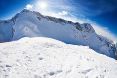 Russian winter landscape of Caucasus mountains Stock Images