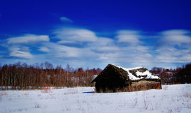 Russian winter landscape little house Stock Photography