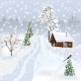 Russian winter landscape for postcard, poster, album etc. Russian winter landscape with a small house, expensive, magpie on the tree Royalty Free Stock Photos