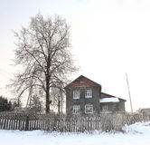 Russian winter landscape small town Royalty Free Stock Photo
