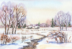 Russian winter landscape Stock Image