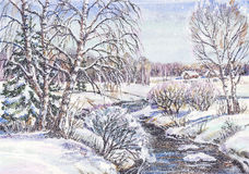 Russian winter landscape Stock Image