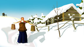 Russian Winter  in a Old Traditional Village Royalty Free Stock Images