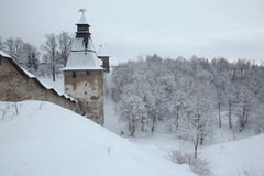 Russian winter. Pskovo-Pechorsky Monastery near Pskov, Russia. Royalty Free Stock Photography