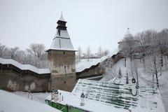 Russian winter. Pskovo-Pechorsky Monastery near Pskov, Russia. Royalty Free Stock Image