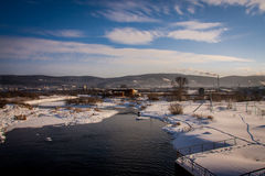 Russian winter river. Miass. South Urals Royalty Free Stock Photos