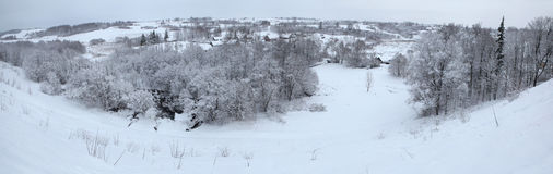 Russian winter. Snow-covered landscape near Pskov, Russa. Royalty Free Stock Photos