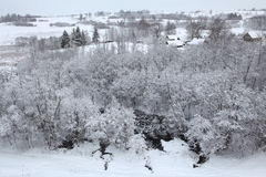 Russian winter. Snow-covered landscape. Royalty Free Stock Images