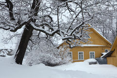 Russian winter. Traditional wooden house. Stock Images