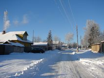 Russian winter in the village. stock photography