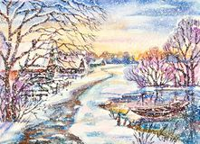 Russian winter village landscape with frozen pond stock illustration