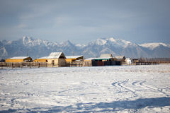 Russian winter. Village not far Baikal, Zhemchug Royalty Free Stock Images
