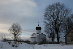 Russian winter. Vybuty Pogost near Pskov, Russia. Stock Photos